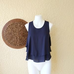 Zara navy blue blouse  cropped